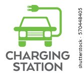 a green vehicle charging... | Shutterstock .eps vector #570448405