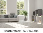 white room with sofa and green... | Shutterstock . vector #570463501