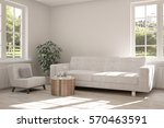 white room with sofa and green... | Shutterstock . vector #570463591