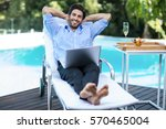 portrait of smart man with a...   Shutterstock . vector #570465004