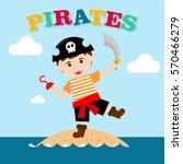 kid in pirate costume poster.... | Shutterstock .eps vector #570466279