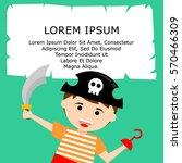 kid in pirate costume poster.... | Shutterstock .eps vector #570466309