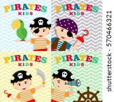 kid in pirate costume poster.... | Shutterstock .eps vector #570466321