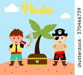 kid in pirate costume poster.... | Shutterstock .eps vector #570466759