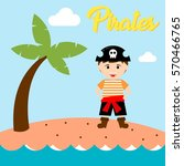 kid in pirate costume poster.... | Shutterstock .eps vector #570466765
