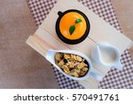 a pices of sweet orange cake ... | Shutterstock . vector #570491761