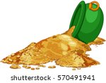 gold poured from the cauldron.... | Shutterstock .eps vector #570491941