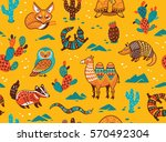 seamless pattern of desert... | Shutterstock .eps vector #570492304