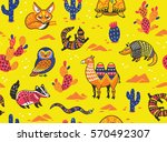 seamless pattern of desert... | Shutterstock .eps vector #570492307