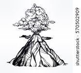 hand drawn volcano. nature... | Shutterstock .eps vector #570502909