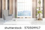 modern bright interior with... | Shutterstock . vector #570509917