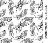 hand drawn seamless plumage... | Shutterstock .eps vector #570510337