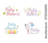 baby shower badge vector set.... | Shutterstock .eps vector #570533005