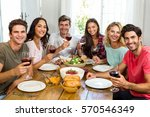 portrait of happy friends... | Shutterstock . vector #570546349