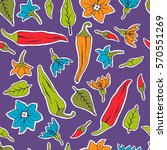 seamless pattern chili pepper... | Shutterstock . vector #570551269