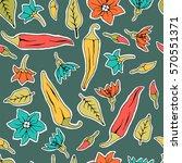seamless pattern chili pepper... | Shutterstock . vector #570551371