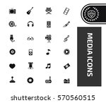 media icon set clean vector | Shutterstock .eps vector #570560515