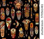 tribal mask ethnic  seamless... | Shutterstock .eps vector #570561481