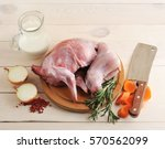 Raw Rabbit On A Wooden Board...