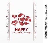 poster with hearts from red... | Shutterstock .eps vector #570567655