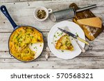 frittata with potatoes and... | Shutterstock . vector #570568321