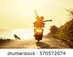 happy couple traveling on... | Shutterstock . vector #570572074