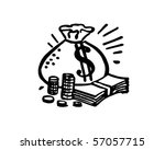 bag of money   retro clip art | Shutterstock .eps vector #57057715