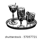 tray of cocktails   retro clip... | Shutterstock .eps vector #57057721