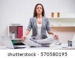 young businesswoman is...   Shutterstock . vector #570580195