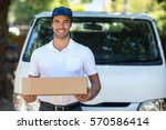 portrait of cheerful delivery... | Shutterstock . vector #570586414