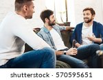 cheerful bearded man telling... | Shutterstock . vector #570595651