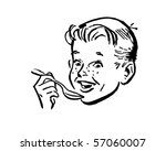boy with spoon   retro clip art | Shutterstock .eps vector #57060007