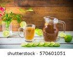 hot lemon tea with flower and... | Shutterstock . vector #570601051