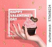 cream chocolate muffin held in... | Shutterstock .eps vector #570608224