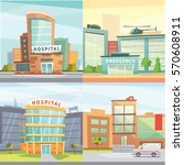set hospital building cartoon... | Shutterstock .eps vector #570608911