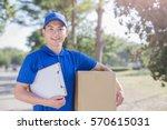 Deliveryman Take Cardboard And...
