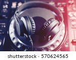 big black dj party headphones... | Shutterstock . vector #570624565