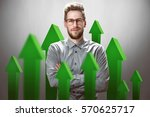 smiling businessman with green... | Shutterstock . vector #570625717