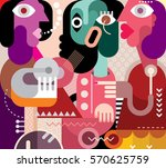 abstract art portrait of three... | Shutterstock . vector #570625759