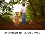 toddler with dog an teddy | Shutterstock . vector #570627997