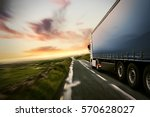 truck on a country road at... | Shutterstock . vector #570628027