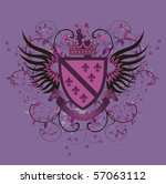 Grunge Lilac Coat Of Arms With...