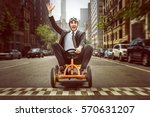 happy businessman on a pedal car | Shutterstock . vector #570631207