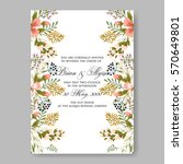 floral wreath wedding invitation | Shutterstock .eps vector #570649801