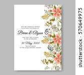 floral wreath wedding invitation | Shutterstock .eps vector #570649975