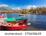 mountain lake strbske pleso in... | Shutterstock . vector #570658639