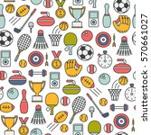 seamless pattern with sports... | Shutterstock .eps vector #570661027