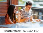 couple of happy tourists... | Shutterstock . vector #570664117