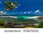 tropical volcanic beach on... | Shutterstock . vector #570670231