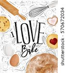 poster bakery with illustrated... | Shutterstock .eps vector #570672034